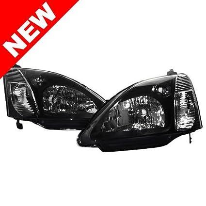 JDM Style Headlight For 2002 2005 Honda Civic Hatchback   Black / Chrome