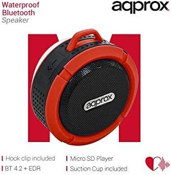 APPROXAltavozBluetooth WaterproofNegro/Rojo3W/BT, microSD/Manos Libres/3 Horas
