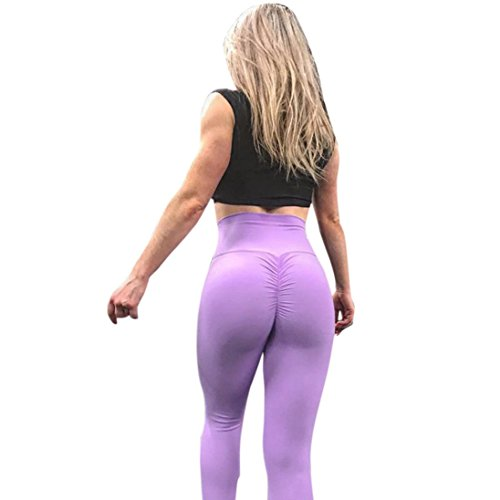 Hot Sale! Kavitoz New Arrival Women Sports Gym Yoga Workout Mid Waist Running Pants Fitness Elastic Leggings (Purple-solid, S)