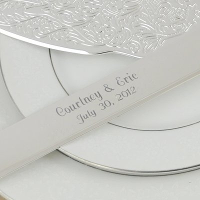 Embossed Cake Server Set Silver and Metal Love Favor Frame by RaeBella Weddings & Events New York (Image #3)