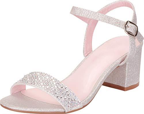 Rhinestone Chunky (Cambridge Select Women's Crystal Rhinestone Chunky Block Mid Heel Dress Sandal,8 B(M) US,Silver Glitter)