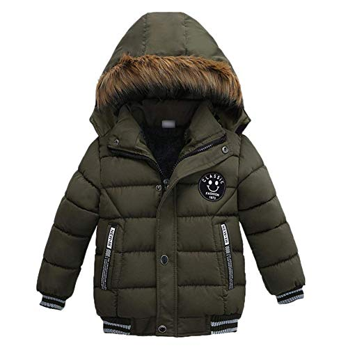 Boys Down Jacket Clearance (Goodkids Toddler Boys Down Jacket Winter Jacket Hooded Thickened Warm Snowsuit Coat Parka Outerwear (Khaki)