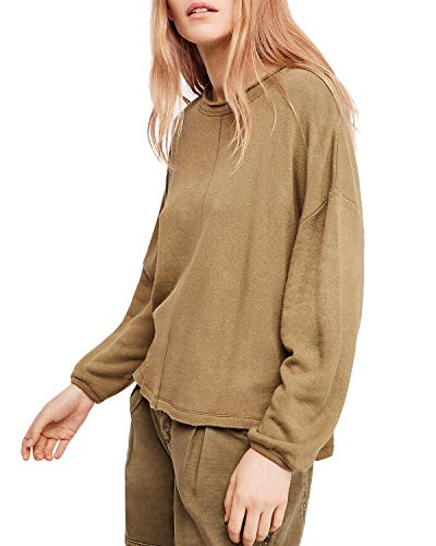 Free People Women's Be Good Terry Pullover Moss Small ()