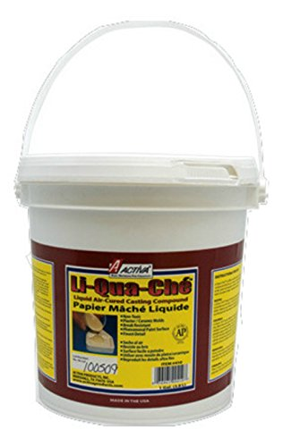 White Paper Mache - Activa Li-Qua-Che Pourable Paper Mache Air Cured Casting Compound, 1-Gallon, White