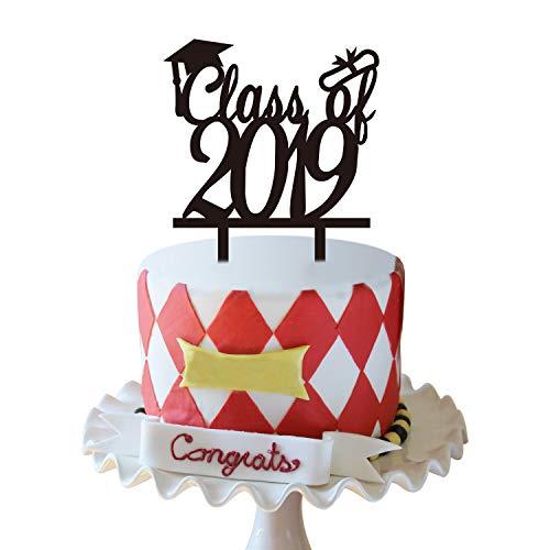 Black Class of 2019 Cake Topper | Graduation Cake Toppers 2019 | 2019 Graduation Cake Decorations | Graduation Party Supplies