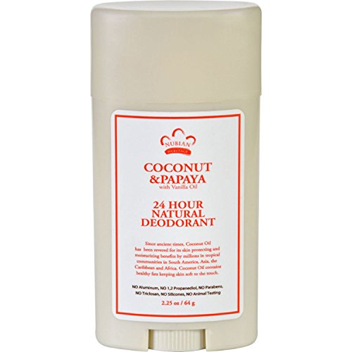 Nubian Heritage Deodorant - All Natural - 24 Hour - Coconut and Papaya - with Vanilla Oil - 2.25 oz (2.25 Ounce Units)