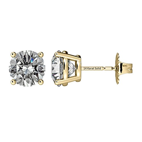 (NANA 14k Gold Post & Sterling Silver 4 Prong Swarovski Pure Brilliance CZ Stud Earrings CZ 1.0ctw to 8.0ctw (yellow-gold-and-sterling-silver,)