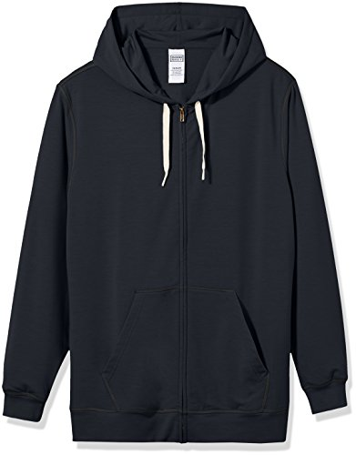 Polyester Terry Cloth (Good Brief Men's Long Sleeve Lightweight French Terry Zip-Up Hoodie X-Large Black)