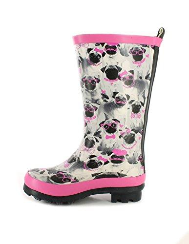 Platino New Girls/Kinder Grau/Pink Süßer Mops Aufdruck Gummistiefel - Grau Mops Aufdruck - UK Größen 1-13