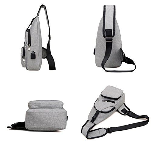 with Gray Janly® Woman Black for Multifunction Bag Sling Casual Bags Shoulder Chest Travel USB Bag Bags Men Crossbody TqnBfPrT