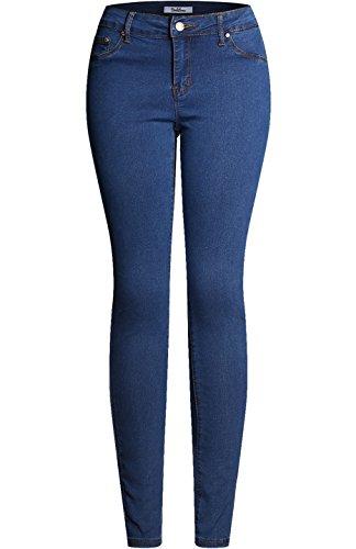 2LUV Women's Solid Stretchy 5 Pocket Skinny Denim Jeans Blue Denim 9