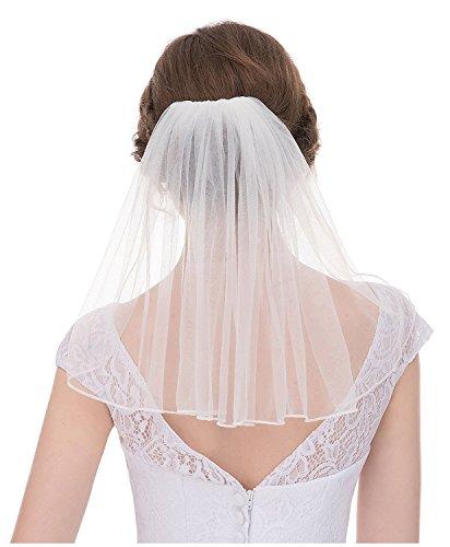 AIBIYI Cute Single Tiers Beaded Robbin Edge Tulle Bridal Wedding Veils With Comb (Short Veil)