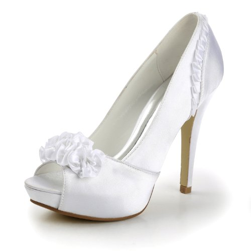 Wedding Sandals Stiletto Minitoo Evening Dress Womens TH12043 Parting White High Fashion Heel Ruched Bridal Satin qvCawv