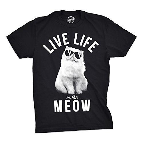 Good Halloween Ideas Guys (Mens Live Life in The Meow Tshirt Funny Kitty Cat Lover Tee for Guys (Black) -)