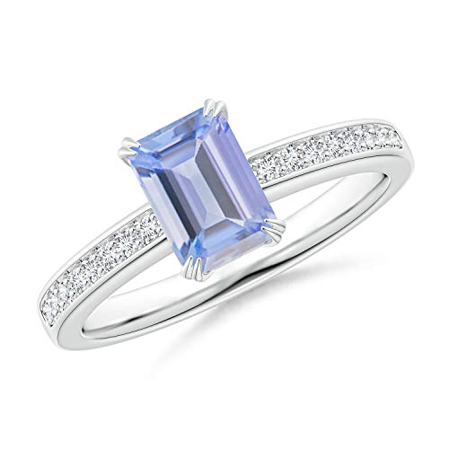 (Octagonal Tanzanite Cocktail Ring with Diamonds in 14K White Gold (7x5mm Tanzanite))