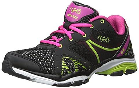 RYKA Women's Vida Rzx Cross-Training Shoe, Black/Ryka Pink/Lime Blaze, 8 M US - 8 Digital Stations