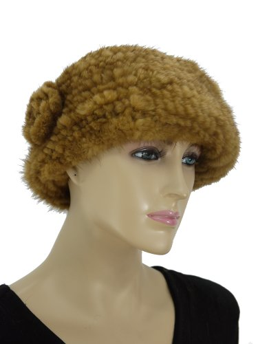 Knit Mink Beret Hat with Rosette - Whiskey