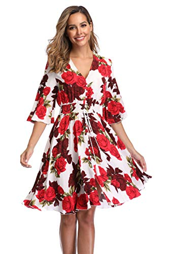 VintageClothing Women's Floral Sundresses Flowy Boho Summer Casual Beach Dress Button Up Midi Party Dress, L