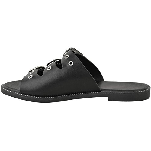 Fashion Thirsty heelberry Mujer Sandalias Planas Para Mujer Tiras Verano Sin Cordones Hebilla Zapatos Sin Talón Deslizables Número Zapato Piel Sintética Negro