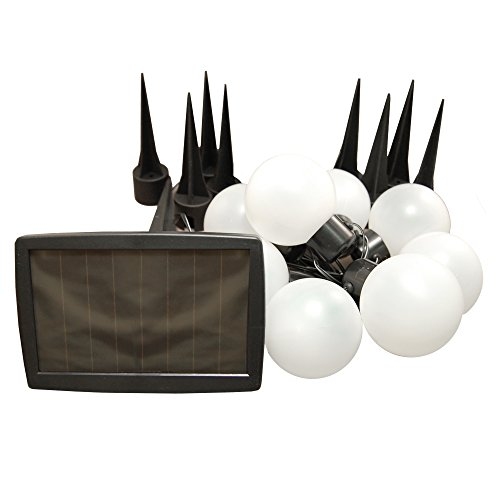 LumaBase 62201 1 Count Solar Powered Plastic Lanterns String Lights, White - Plastic Solar Powered Lights