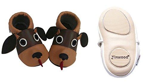 Jinwood designed by amsomo verschiedene Modelle - 3 D Hausschuhe - ECHT LEDER - Lederpuschen - Krabbelschuhe - Mädchen - Jungen - soft sole/mini shoes div. Groeßen 17/19-31/32 dog brown mini shoes