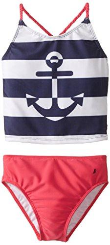 Nautica Big Girls' Anchor Stripe Contrast Tankini, Navy, 12