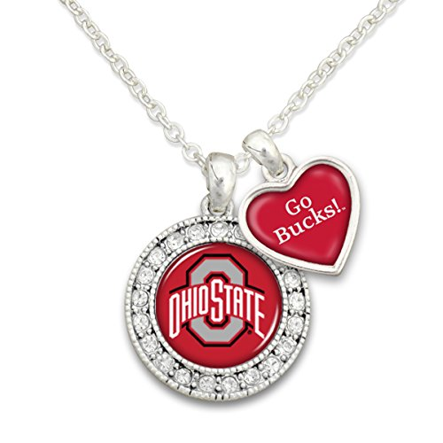 Sports Team Accessories Ohio State Buckeyes Logo and a Heart Shaped Charm Necklace Featuring Team Slogan