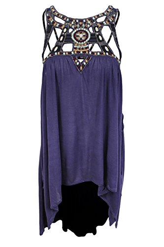 Free People Womens Vision Quest Embellished Hi-Low Tank Top Purple XS