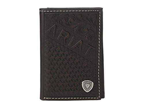 Ariat Men's Embossed Trifold Wallet w/Ariat Shield Tan One Size