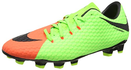 Nike Men's Hypervenom Phelon III FG Soccer Cleat Electric Green/Black/Hyper Orange/Volt Size 8.5 M US