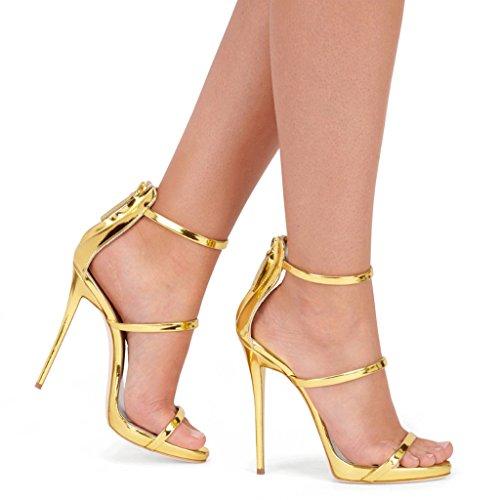 Amy Q - Sandalias de vestir para mujer dorado