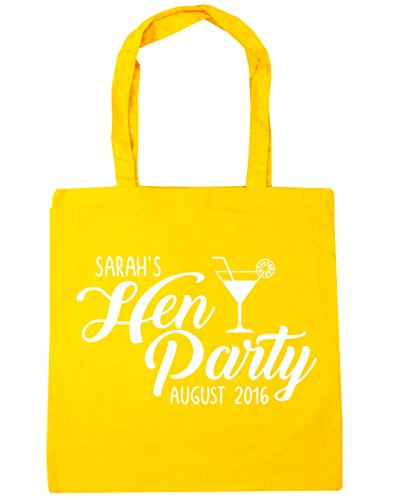 HippoWarehouse PERSONALISED Hen Party Your Name and Date Tote Shopping Gym Beach Bag 42cm x38cm, 10 litres Yellow