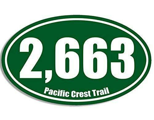 JR Studio 3x5 inch Oval 2,663 Pacific Crest Trail Miles Sticker (Hiking Hike pct 2663 rv) Vinyl Decal Sticker Car Waterproof Car Decal Bumper -