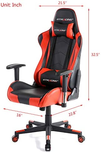 GTRACING Gaming Chair Racing Office Computer Ergonomic Video Game Chair Backrest and Seat Height Adjustable Swivel Recliner with Headrest and Lumbar Pillow Esports Chair (Red)