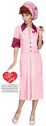 Fun World Women's Licensed I Love Lucy Candy Factory Dress, Multi, M/L Size 10-14 ()