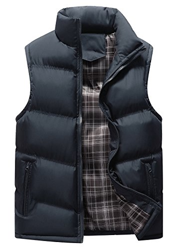 (Gihuo Men's Lightweight Active Quilted Padding Puffer Vest Winter Warm Gilet (X-Large, Navy))