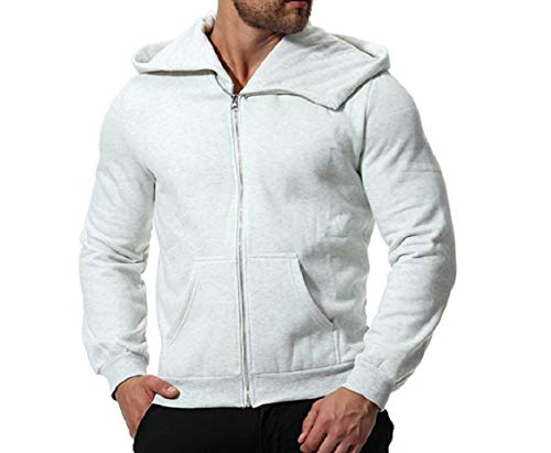 Mens Grey Thicken Jacket RkBaoye Bomber Long Sleeve Light Zip Solid with Hooded BnnxgTUOqw
