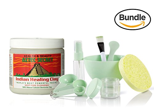 Aztec Secret Indian Healing Clay & 9 in 1 Cosmetic DIY Face Mask Mixing Tool Kit with Big Volume Mask Bowl, Spatula, Brush, Spray Bottle, Puff Soaking and Measuring Spoons (Green)