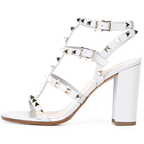 Sandals for Women,Rivets Studded Strappy Block Heels Slingback Gladiator Shoes Cut Out Dress Sandals White 9cm