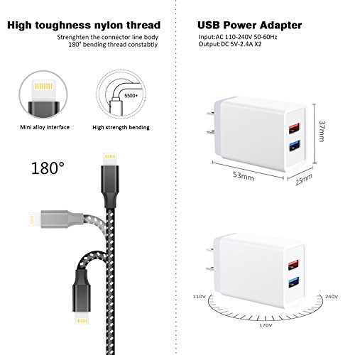 JellyShark Lightning Cable 2-Pack 3 FT USB Cable With 1-Pack Dual Port 5V/2.4A Charging Plug Home Travel Power Wall Charger Adapter Plug For iPhone 8/7/7 plus/6/6s Plus/5/5S/iPad/iPod and More Photo #4