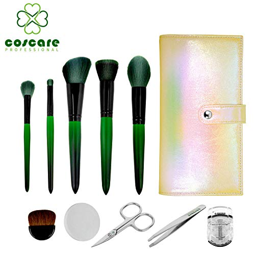 (COSCARE Makeup Brushes Set Kit (Brushes, Sponge, Eyelash Curler, Scissor, Tweezers And Pouch) Full Face-Perfecting Complete Travel Brush Set)