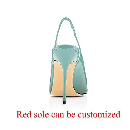 Slingback Pumps Pumps Cute Stilettos Leather Toe Emerald Point Patent 10CM Evening Shoes Modemoven Heels Women's 80xwtT