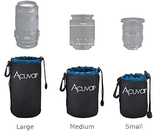 Blue and Black Sigma Pentax Soft Pouch for Canon Olympus DSLR and SLR Camera Lens Acuvar Large Neoprene Sony