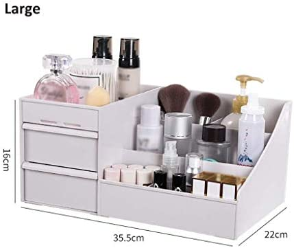 BZM-ZM 新聞ラックデスクトップ新聞ラック、多機能オフィス用品オーガナイザー化粧品の香水ケースコスメティック新聞ラックと引き出し×3(色:B1、サイズ:L)