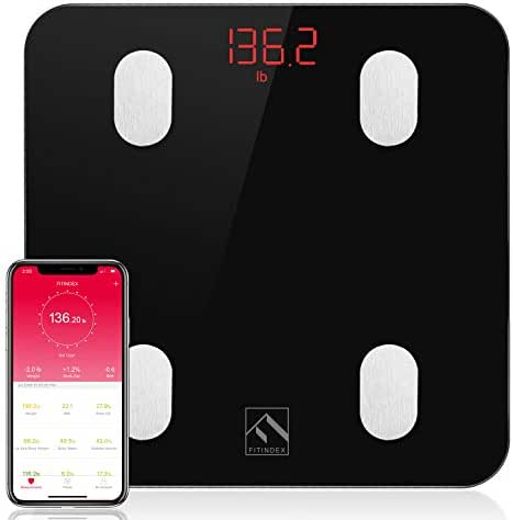 FITINDEX Bluetooth Body Fat Scale, Smart Wireless BMI Bathroom Weight Scale Body Composition Monitor Health Analyzer with Smartphone App for Body Weight, Fat, Water, BMI, BMR, Muscle Mass - Black