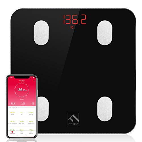 FITINDEX Bluetooth Body Fat Scale, Smart Wireless Digital Bathroom Weight Scale Body Composition Monitor Health Analyzer with Smartphone App for Body Weight, Fat, Water, BMI, Muscle Mass - Black (Best Weight Tracker App)