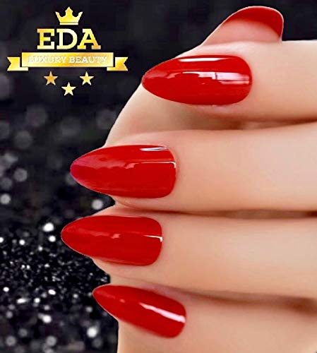 Red Pointy Halloween Nails (EDA Luxury Beauty Red Ultimate Glamorous Design Gel Glitter Extra Long Oval Round Almond Stiletto Shiny Artificial Tips Perfect False Nails Acrylic Full Cover Press On Super Glam Fashion Fake)