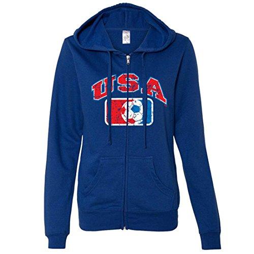 (USA Vintage Soccer Team Ladies Zip-Up Hoodie - Cobalt Large)