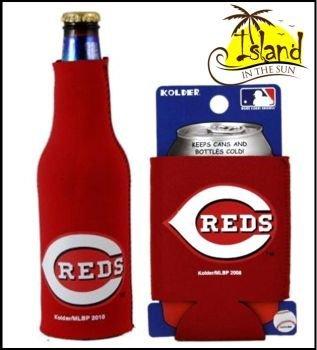 SET OF 2 CINCINNATI REDS MLB CAN & BOTTLE KOOZIE (Cincinnati Reds Bottle)