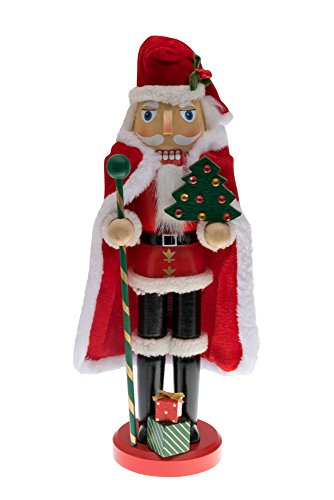 Traditional Wooden Santa Claus Christmas Nutcracker by Clever Creations | Collectible Santa in Red Fur Trimmed Coat and Cape| Festive Holiday Décor | Holding Tree & Staff | 100% Wood - Jim Shore Macys